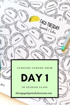 Day 1 in Spanish Class - Ideas for all levels of Spanish for the first day of school - Spanish Teacher, Spanish Classroom, Teaching Spanish, Teaching French, Spanish Club Ideas, Spanish 1, Learn Spanish, Learn French, Middle School Spanish