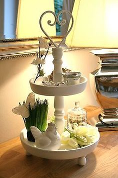 osterdeko etagere hase eier wei rost shabby vintage ostern deko landhaus blumen ostern. Black Bedroom Furniture Sets. Home Design Ideas