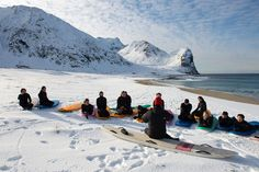 Extreme Surfing On Arctic Circle