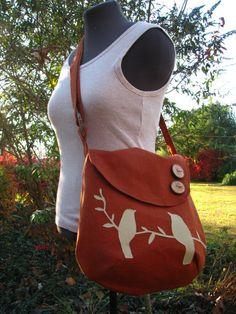 Tweeting Birds Shoulder bag/ Large - Kenya  -purse -Diaper Bag / Natural Linen- handmade /tote /school bag /other colors available. $69.00, via Etsy.