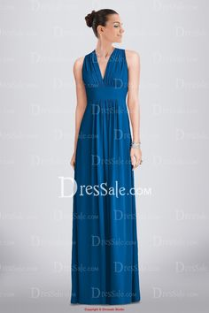 Airy Full Length V-neck Chiffon Bridesmaid Dress Featuring Inset Waistband and Pleated Detail