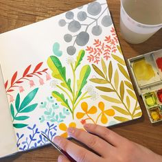 Walked through slush to a coffee shop this morning in Augusta to sip a soy chai and paint. It feels good to make up flora when it is cold and grey, so that is what I'm doing. I hope you have a great day, and take some time to do something that makes you happy! . #illustratorinmaine #painting #watercolor #flora #makingupflora #handbookwatercolorjournal #workinprogress #doodles