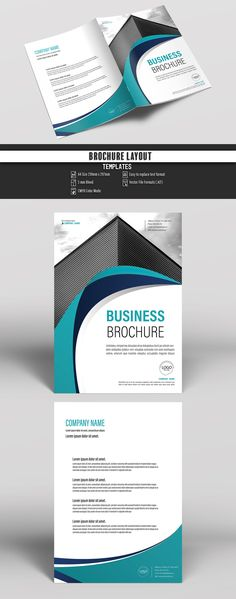 Brochure Cover Layout With Blue And Green Accents  Buy This