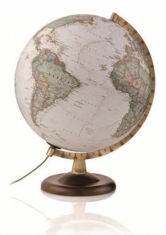 This antique toned National Geographic globe features over 2000 place names. The text is clear and each country is in a different colour with a darker tone around the borders to accentuate the political mapping.