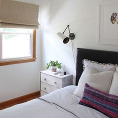 Before & After: Small Kitchen Renovation Reveal — Amanda Katherine Wood Blinds, Curtains With Blinds, Small Kitchen Renovations, Kitchen Ideas, Woven Wood Shades, Kitchen Remodel Before And After, Ikea Billy Bookcase, Bedroom Blinds, Small Rooms