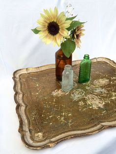 Vintage Gold Painted Shabby-Chic Decorative Wood Serving Tray