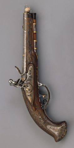 Place of creation: Russia. Material: steel gold silver wood horn and velvet. Technique: forged chased engraved blued etched damascened and decorated with inlay. Martial Arts Weapons, Weapons Guns, Black Powder Guns, Gun Vault, Flintlock Pistol, Steampunk Weapons, History Tattoos, Pirate Art, Hermitage Museum