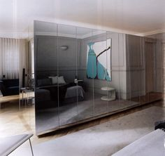 Bedroom. Bathroom inside mirrored wardrobe cube
