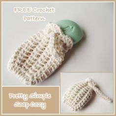 Crochet Stitches Patterns Pretty Simple Soap Cozy ~ FREE Crochet Pattern - FREE crochet pattern for a Pretty Simple Soap Cozy. It's a simple, yet pretty stitch, which makes this crochet soap cozy perfect for gift-wrapping soaps. Crochet Kitchen, Crochet Home, Crochet Gifts, Easy Crochet, Free Crochet, Knit Crochet, Crochet Bags, Simple Crochet Patterns, Crochet Ideas