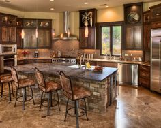 Beautiful kitchen! Enchanting Tuscan Residence in Rustic Interior : Sleek Traditional Kitchen Design Marble Tile Floor One Story Comfort