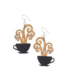Look what I found on #zulily! Black & Tan Coffee Cups Drop Earrings #zulilyfinds