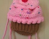 Strawberry Crochet Cupcake back pack/diaper bag! Proceeds help a local family care for their disabled daughter!