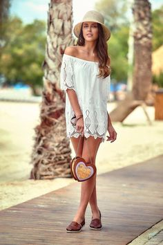 Beach mode: ON! Shop online on leather espadrilles Leather Espadrilles, Tom S, Shoulder Dress, Bohemian, Beach, Shopping, Dresses, Style, Fashion