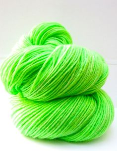 Hand Dyed Yarn Superwash BFL and Bamboo Lustre Sock Yarn in Neon
