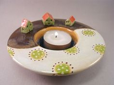 Find Your Spot...Ceramic Votive Holder with Miniature Houses  stoneware scene from elukka