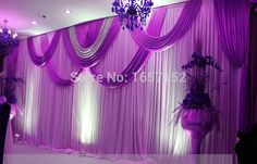 Purple wedding Backdrop Wholesale Sequins Stage Backdrop for Wedding Decoration Stage Backdrop with Detachable Swag Wedding Draping, Wedding Stage, Wedding Decorations On A Budget, Stage Decorations, Wedding Ideas, Sequin Backdrop, Backdrop Decor, Rideaux Design, Stage Curtains