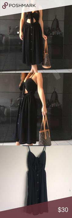V Day Pic❣️Nasty Gal Tied up Black Dress 👗 Nasty Gal Tied up Dress 👗 Size: Small  Color: Black  Lovely fit, worn a couple of times. No damages. Nasty Gal Dresses Midi