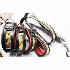 Black Leather Designer Dog Collar With Snake Print Inlay