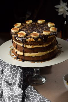 Chocolate Chip Banoffee Cake with Caramel Buttercream