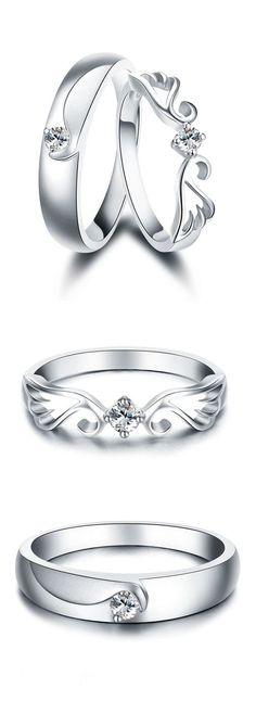 Angel Wing & Crown Promise Rings for Couples, Matching Cute Couple Rings Set in Sterling Silver, Cheap Diamond Womens and Mens Wedding Rings, Beautiful Love Jewelry  Set for Boyfriend and Girlfriend