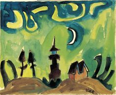 Karl Schmidt-Rottluff, Leuchtturm mit Mondsichel (Lighthouse with Sickle Moon), 1922, Watercolor, 49.2 x 60.0 cm, © VBK,