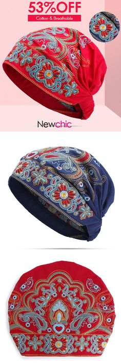Women Embroidery Ethnic Cotton Beanie Hat Vintage Good Elastic Breathable Summer Turban Caps #cap #hat #summer #coupon #TurbanCaps