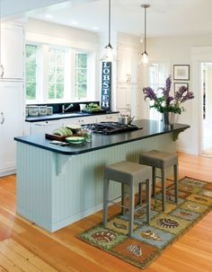 looks similar to our kitchen, color and island and pendants