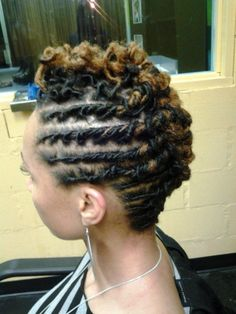 Photo credit: MyBlackHair - Hairspiration: Beauty Locs - Use our Protein Styling gels to help Hold your styles in place for longer periods of time. Dreadlock Styles, Dreads Styles, Afro Punk, Short Locs Hairstyles, Cool Hairstyles, Short Dread Styles, Short Mohawk, Twisted Hair, Natural Hair Inspiration