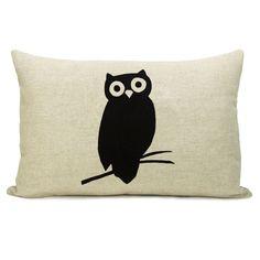 Owl pillow case  Black owl print