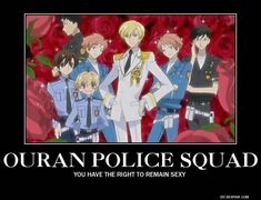 Ouran High School Host Club: The Hosts dressed as police officers! <<<<They can commit police brutality on me. Ouran Host Club, Ouran Highschool Host Club, Host Club Anime, High School Host Club, School Clubs, Gymnasium, Kaichou Wa Maid Sama, Wattpad, Anime Shows