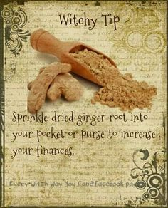 A Witchy Tip for Ginger Magick Spells, Wicca Witchcraft, Hoodoo Spells, Healing Spells, Wiccan Books, Wiccan Rituals, Luck Spells, Healing Herbs, Herbal Magic