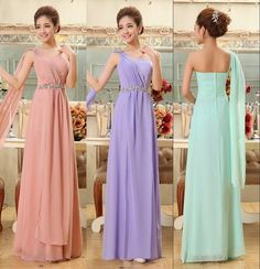 Wholesale Fashion One Shoulder A-Line Party Dresses Pleated Sleeveless Custom Made Formal Long Bridesmaid Dresses 2014, Free shipping, $78.04/Piece | DHgate Mobile