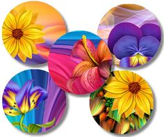 Colorful floral digital collage sheet 25mm and by BargainBinShop