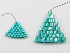 Seed bead jewelry How to Make a Decrease and Increase Brick Stitch. Remember, the idea is to not have thread showing on the edges of your work. Seed Bead Patterns, Beaded Jewelry Patterns, Beading Patterns, Bracelet Patterns, Box Patterns, Beaded Beads, Beaded Earrings, Seed Bead Earrings, Beading Techniques