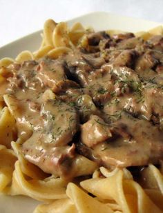 Recipe for Slow Cooker Beef Stroganoff -  I am not a huge fan of red meat but this Beef Stroganoff is to die for!  The only problem is finding porcini mushrooms. They are difficult to come by but you can find them at natural food stores such as Sunflower market if you have one nearby. It is definitely worth the trouble.
