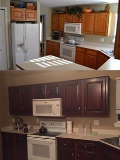 how to stain old kitchen cabinets oak cabinet makeover with general finishes antique walnut 8912