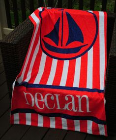 Another great find on #zulily! Blue Ship Personalized Beach Towel #zulilyfinds