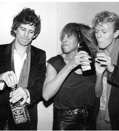 Keith Richards, David Bowie and Tina Turner. POSSIBLY THE BEST PHOTO IN ROCK N ROLL