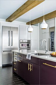 White Kitchen Appliances Trend Awesome 20 Kitchen Cabinetry Trends We Love Affordable Kitchen Cabinets, Grey Kitchen Cabinets, Kitchen Tops, Painting Kitchen Cabinets, New Kitchen, Kitchen Decor, Wood Cabinets, Kitchen Island, Kitchen Backsplash