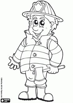 Firefighter coloring pages – 消防隊員 – 消防士 – رجال الاطفاء – tuletõrjuja – πυροσβέστης – Pompier – coloriage – #13 - pictures, photos, images