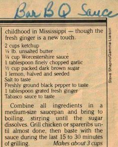 Bar B Q Sauce- I need to make a batch of this and divide it into smaller containers for the freezer. Retro Recipes, Old Recipes, Vintage Recipes, Cooking Recipes, Barbecue Sauce Recipes, Barbeque Sauce, Bbq Sauces, Grilling Recipes, Side Dishes