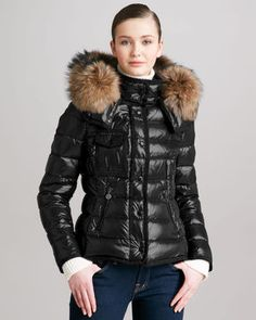 ShopStyle.com: Moncler Short Puffer Jacket with Fur-Trimmed Hood $1,650.00