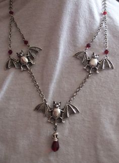 Bats and skull  Gothic necklace. by MidnightDesires on Etsy, $25.00