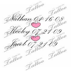 Tattoo with children's names | Children's names #31284 | CreateMyTattoo.com
