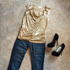 HP Michael Kors Gold Top Beautiful! Just beautiful! Excellent used condition! All sequins intact, soooo gorgeous! Looks great w jeans or a skirt! Dresses up and down easily. Perfect for holidays!!! Michael Kors Tops