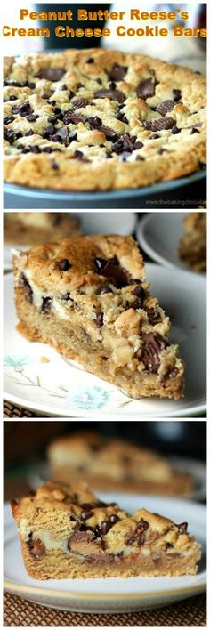 Peanut Butter Reese's Cream Cheese Cookie Bars! Would YOU turn peanut butter & Reese's Cup cookies entertwined with cream cheese down? Baking Recipes, Cookie Recipes, Dessert Recipes, Bar Recipes, Vegan Recipes, Cream Cheese Cookies, Cookies Et Biscuits, Butter Cheese, Crack Crackers