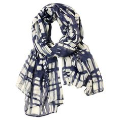Add a pop of style to evening ensembles and work outfits alike with this lovely white and navy scarf, featuring a checked print.  Pr...