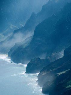 Mist on Rocky Coastline, Kauai, Hawaii. Na Pali Coast, Kauai, Hawaii. #napali #kauai #hawaii