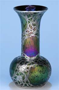 Loetz Glass with Silver Overlay Vase, c. 1900