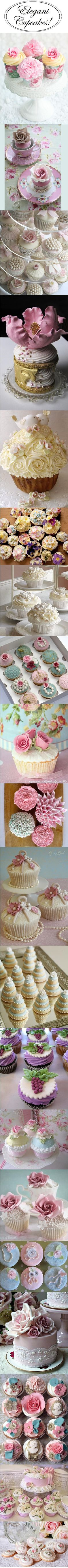 Elegant Cup Cakes. These are gorgeous!